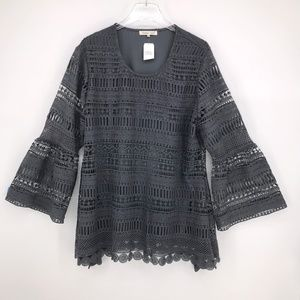 Indigo Soul All Over Lace Tunic (Lined) in Grey